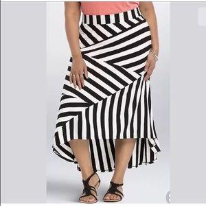 Torrid Maxi Skirt 3 3XL High Low Stripes Black